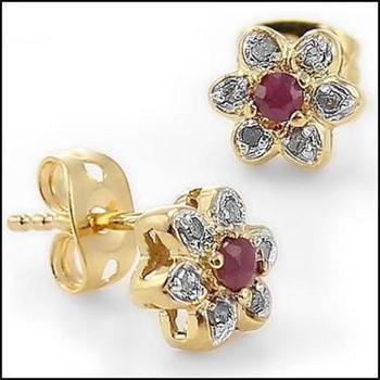 2.86 CT Ruby & Diamond Designer Earrings List Price $665!