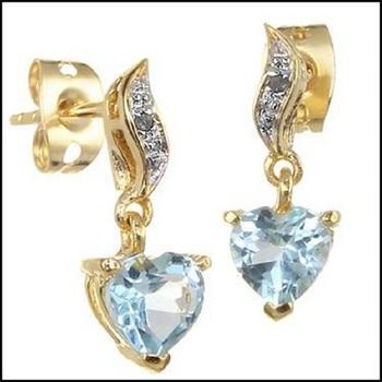 1.66 Cts Sky Blue Hearts Topaz & Diamond 18KGP Designer Earrings