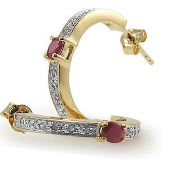 0.68 CT Ruby & Diamond Designer 18KGP Earrings