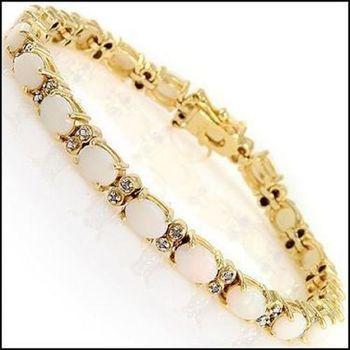 9.15 Ct Opal & Diamond Designer 18KGP Bracelet