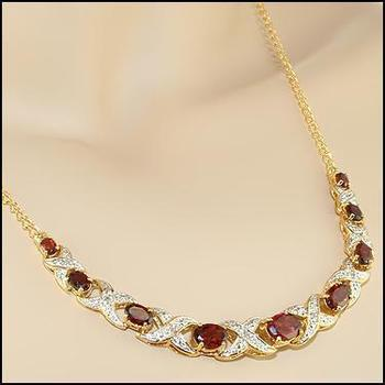5.19 CT Garnet & Diamond 18KGP Designer Necklace MSRP $775