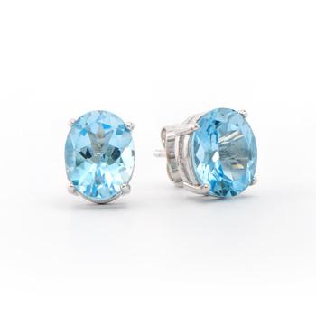 5.65 Cts Swiss Blue Topaz Designer 18KGP Earrings