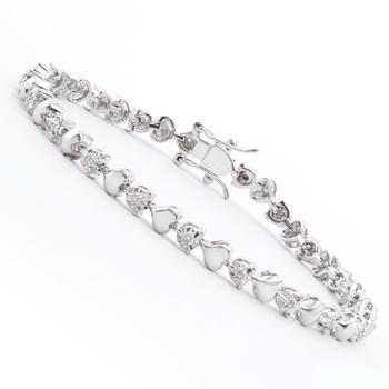 0.15 Ct Diamond 18KGP Designer Heart Bracelet