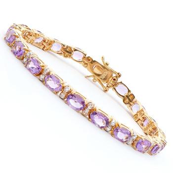 9.08 Cts Amethyst & Diamond 18KGP Designer Bracelet