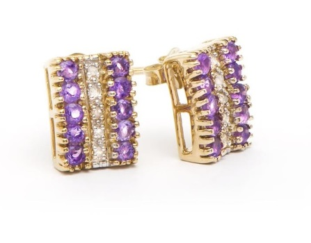 1.29 Cts Amethyst & Diamond Designer 18KGP Earrings