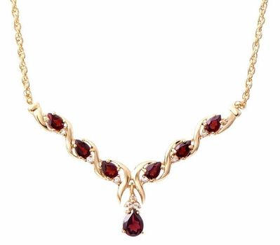 8.71 CT Garnet & White Sapphire Designer Necklace List Price $835!