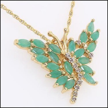 3.59 CT Emerald & Diamond Designer Butterfly Necklace List Price $1,260!
