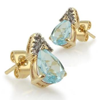 3.14 CT Blue Topaz & Diamond Designer Earrings List Price $665!