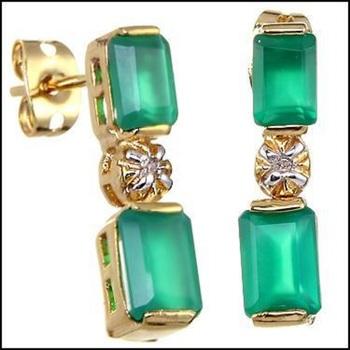 3.22 CT Green Agate & Diamond Designer Earrings List Price $625!