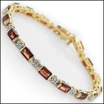 12.18 CT Garnet & Diamond 18KGP Designer Bracelet