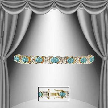 9.12 CT Swiss Blue Topaz & Diamond 18KGP Designer Bracelet