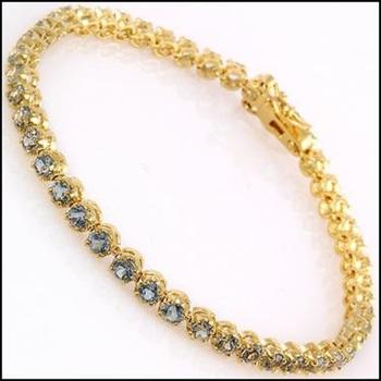 10.02 CT Blue Topaz 18KGP Designer Tennis Bracelet