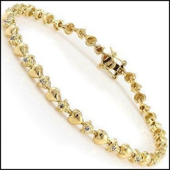 0.41 CT Diamond Designer Hearts 18KGP Bracelet