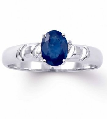 1.07 Cts Certified Blue Sapphire & Diamond White Gold Ring MSRP $4,421.00!
