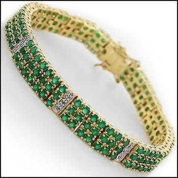 6.20 CT Green Agate & Diamond 18KGP Designer Bracelet