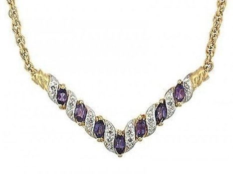 6.92 CT Amethyst & Diamond For Ever Love Necklace