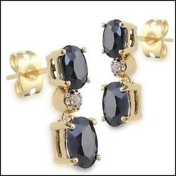 3.37 CT Sapphire & Diamond Designer Earrings