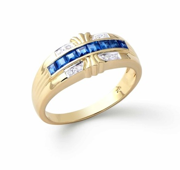0.71 Cts Certified Blue Sapphire & Diamond Gold Designer Ring $4,360.00!
