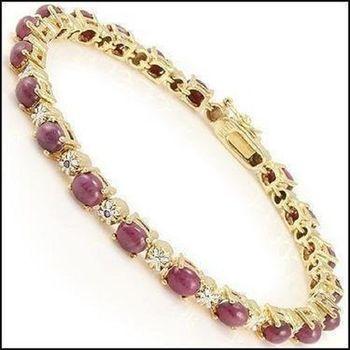 12.69 CT Cabochon Ruby & Diamond Designer Bracelet