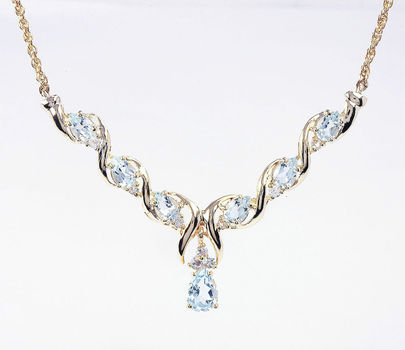 8.71 CT Swiss Blue Topaz & White Sapphire Designer Necklace