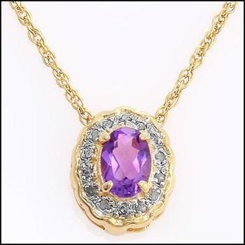 0.76 Cts Amethyst & Diamond 18KGP Designer Necklace
