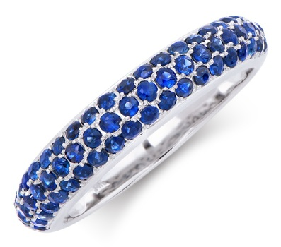 1.05 CTS CERTIFIED BLUE SAPPHIRE 14K DESIGNER WHITE GOLD RING SIZE 7.5