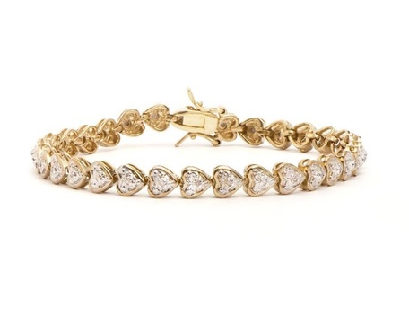 0.24 CT Diamond 18KGP Designer Hearts Bracelet