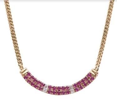 14.89 CT Ruby & Diamond Designer Necklace MSRP $1,265