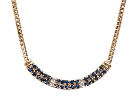 14.89 CT Sapphire & Diamond Designer Necklace MSRP $1,380