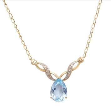 6.89 CT Blue Topaz & Diamond Designer Necklace