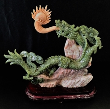 2,460 Cts of Real  Jade Dragon with Fire Ball  MSRP $1,185