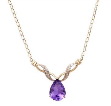 3.60 CT Amethyst & Diamond 18KGP Designer Necklace