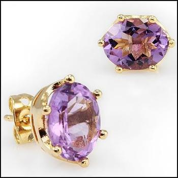 4.64 CT Purple Amethyst 18KGP Stud Designer Earrings MSRP $445!