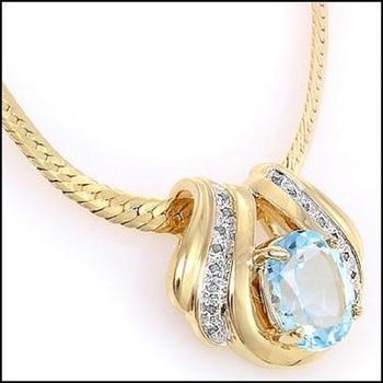7.49 CT Swiss Blue Topaz & Diamond Designer Necklace List Price $890!