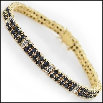 15.88 CT Black Sapphire & Diamond Designer Bracelet List Price $1,565!