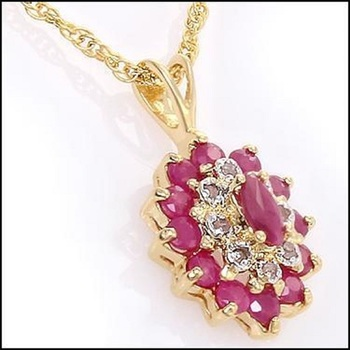 3.97 CT Ruby & Diamond Designer Necklace List Price $780!