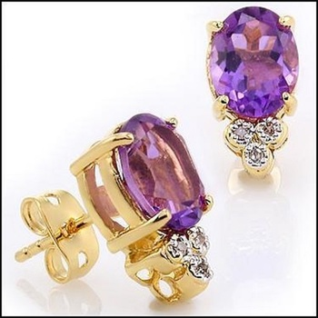 3.76 CT Amethyst & Diamond Designer Earrings