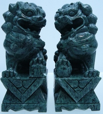 "1,885 Cts of Real Jade Pair of 8"" Foodogs/Lions List Price $985"