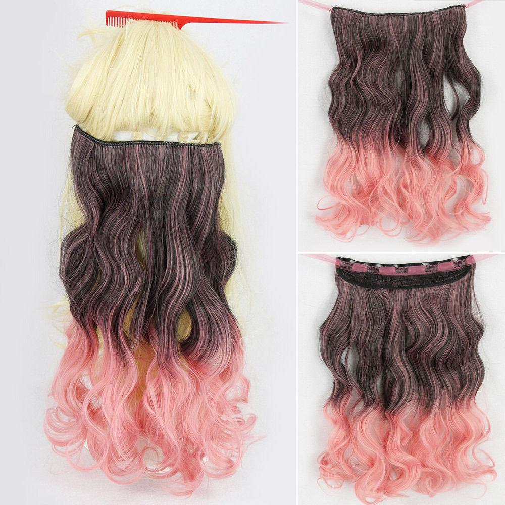 Brown Gradient Smoke Pink Curly 17 Inch Long Hair Extension