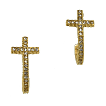 14k Gold over Silver CZ J-Hoop Cross Earrings