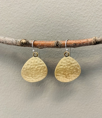 14k Gold Vermeil Hammered & Satin Finish Disk Earrings