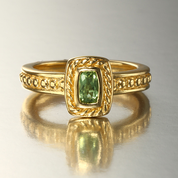 14K Over Silver Stackable Peridot Ring Size 7