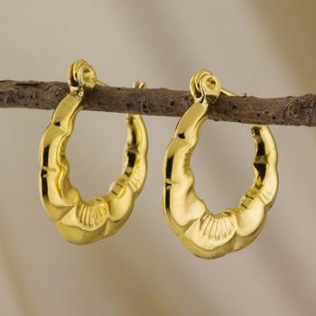 14k over Sterling Silver Bamboo Hoop Earrings