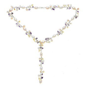 """Amethyst, Citrine and Pearl """"Y"""" Necklace Sterling Silver"""