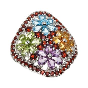 6.80ctw Multi Flower Sterling Silver Ring
