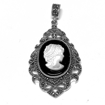 Sterling Silver Marcasite and Cameo Pendant with Chain