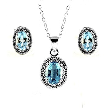 Blue Topaz Pendant and Earrings Set in Sterling Silver