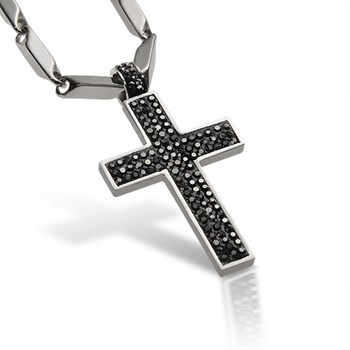Premium Stainless Steel and Crystal Marcasite Men's religious Cross Necklace