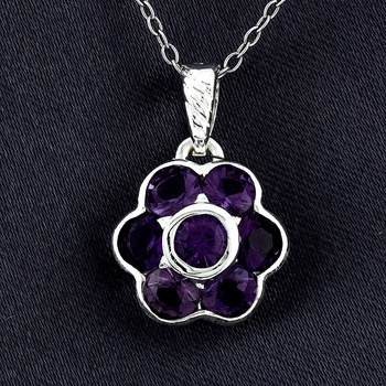 Sterling Silver Purple Flower Pendant with Chain