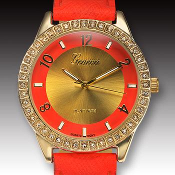 Orange Tone Leather Strap, Ladies Watch